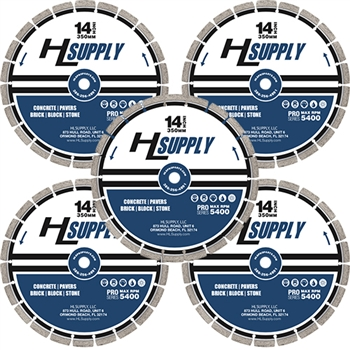 "HLS 14"" laser welded diamond saw blade general use - 5 Pack"